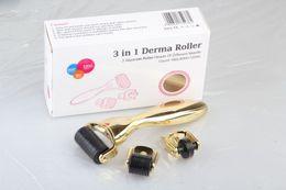 $enCountryForm.capitalKeyWord NZ - Drop ship 3 in 1 Derma Roller,3 separate roller heads of different needle count 180c 600c 1200c golden handle micro needle roller