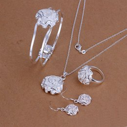 Alta calidad 925 de plata de ley Rose Set conjunto de joyas DFMSS243 a estrenar Venta directa de fábrica de 925 pendientes de plata collar de anillo pendiente