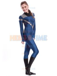Costume Spandex Movie NZ - Lycra spandex Fantastic Four Invisible Woman Costume blue fullbody superhero zentai suit