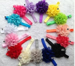 chiffon mesh flowers wholesale Canada - 10% OFF 2015 NEW ARRIVAL!CHEAP SALE 4 INCH Stretch mesh lace chiffon fabric flower hair band 15 COLORS,CHLIDREN hair accessories 20pcs TP