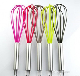 "wholesale wire whisk UK - Newest ! Wire Whisk Stirrer Mixer Hand Egg Beater COLOR SILICONE EGG WHISK STAINLESS STEEL HANDLE 10"" FREE DHL"
