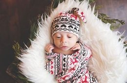 $enCountryForm.capitalKeyWord Canada - Newborn Baby Swaddle Blanket Wrap +Knotted Hat Christmas Deer Cotton Blankets Baby Girls Shower Gift