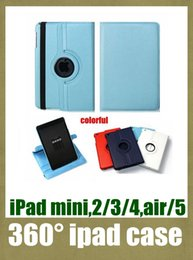 Discount folio tablet - for ipad mini ipad 2 3 4 ipad 5 air tablet case with stand folding case cover PU leather material 360 rotating case litc