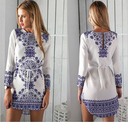 long floral digital print dresses Canada - Women Dresses Summer 2015 Fashion New Sexy Mini Digital Printing Women's Blue and White Long-sleeved Dress Chiffon Womens Casual Dresses