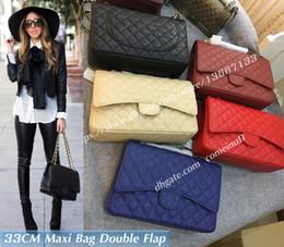 Genuine Leather Bag Design Australia - Design Brand 33CM Black Caviar Maxi Bag Women's Large Lambskin Quilted Double Flaps 58601 Handbags Female Genuine Leather Shoulder Bags