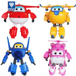 planes wing Australia - [TOP] Cartoon 4pcs lot Super Wings toys Mini Planes Model Transformation Airplane Robot Action Figures kids Boys Birthday Gift