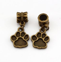 wholesale paw print Australia - Hot ! 100PCS Antique Bronze Tone Paw Print Charm Dangle Beads Fit Charm Bracelets DIY Jewelry 12x27mm