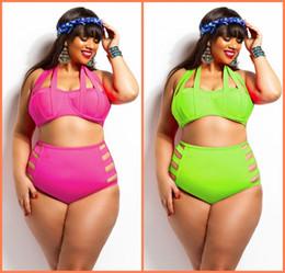 Plus Sized Bikini Tops Canada - Triangle Swimwear for Plus Size Women Bandage Banded Push up Top High Waist Hollow Out Bottom Bikini Swimsuit Bathing Suit SW352 1P
