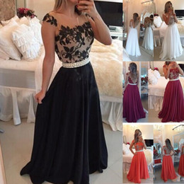 Discount line bateau chiffon lace - 2016 Burgundy Black White Water Melon Prom Dresses Fiesta Sheer Crew Neck Lace Appliques Pearls Belt Chiffon Long A-line