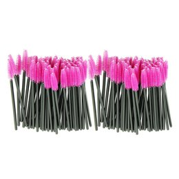 China Wholesale-2015 100pcs lot one-off Disposable make up brush Pink Synthetic Fiber Eyelash Brush Mascara Applicator Wand Brush Drop shipping supplier plastic fiber suppliers