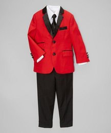 Barato Casaco De Meninos De Azul Royal-Baby Kids Red Jacket Black Pants Wedding Party Página Boys Tuxedos Custom 2 Piece (coat + pants) feito sob medida