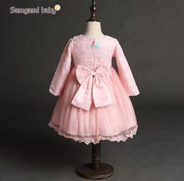 Lace Rose Flower Tutu Canada - 2016 Spring Baby Girls Dress Pretty Rose Flower Lace Dress Girl Baby Clothes Dress Tops KB179