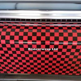 Self adheSive printS online shopping - Red chequer Printed Vinyl Car Wrap With Air bubble Free Car cover stickers Self adhesive Vinyl size x m m m m