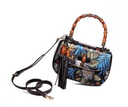 Chinese Floral Paintings UK - Genuine Leather Hot Sell Newest Classic Fashion Style chinese style Lady top handle bag hand-painting #232