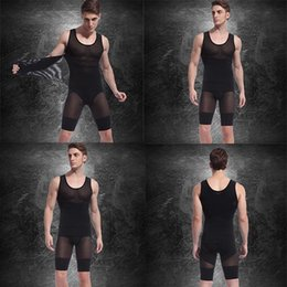 Chinese  Mens Spandex Bodysuits (Vest+Pants) Hot Slimming Corset Waist And Butt Shapers Male Training Belts Body Girdles Underwear d2526 manufacturers