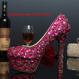Spring Green Weddings Canada - Round Toe Rhinestone Platform High-Heeled Fuchsia and Green Wedding Shoes Crystal Lady Shoes Luxury Evening pParty Shoes
