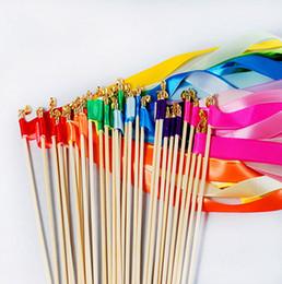 Ingrosso Bacchetta magica colorata Bacchetta magica Nastro nuziale Bacchette con campana TWIRLING STREAMER Bomboniere Decorazione di cerimonia nuziale Forniture per feste