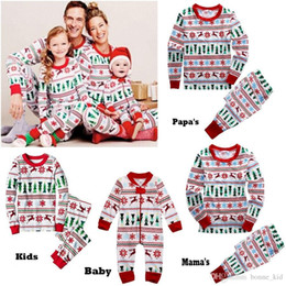 Barato Vestuário Para A Família-Family Christmas Winter Outfits Jumpsuits Baby Clothing Papa Mama Kid Set Boy Girl Xmas de manga comprida Deer Pyjamas Adulto de duas peças Home Outfit