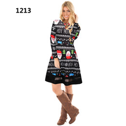 6e4262ec0bbd Winter Christmas Party Dress 2018 Women Long Sleeve O-Neck Casual Print  Dresses Cute Cartoon New Year Clothing