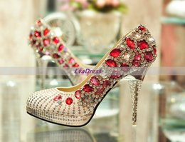 Glitter Prom Pumps NZ - Glitter Beads Cystal Prom Pumps Femme Sexy Wedding Bridal Pointed Toes Red Rhinestone Golden High Heels Shoes For Women