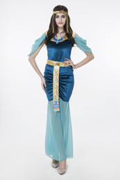 Egyptian Halloween Costumes Women Canada - 2017 New Adult Egyptian Goddess Blue Dress Sexy Cosplay Halloween Costumes Club Stage Performance Clothing Drop Shipping Hot Selling