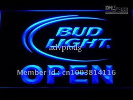 lighted bud beer signs Canada - 025-b Bud Light Beer OPEN Bar Neon Light Sign