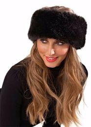 Discount thick headbands - New fashion Unisex Large Thick Faux Fake Fur Headwear Euramerican Headband Winter ear Warm Ski Hat Plush Head Hair Bands