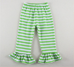 Pantalon Décontracté Vert Pas Cher-Vente en gros en Chine pas cher enfants Knit Leggings, Green Stripe Ruffle Girls Leggings, Coton Tricot Summer Toddler Girls Pantalon rayé