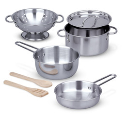 $enCountryForm.capitalKeyWord Australia - (8 pcs) Stainless Steel Pots and Pans Pretend Play Kitchen Set for Kids Includes colander, pot with lid, 2 pans, 2 wooden utensils, and rack