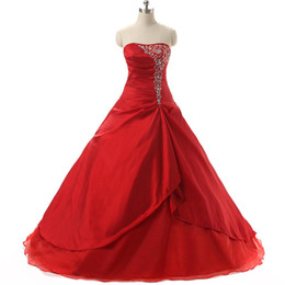 $enCountryForm.capitalKeyWord UK - Elegant Red Cheap Quinceanera Dresses 2016 Strapless With Pleats Ruffles Embroidery Sweet 16 Girls Masquerade Prom Ball Gowns In Stock
