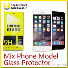 Wholesale Iphone Tempered Glass Canada - For Galaxy S6 Note 5 Tempered Glass Screen Protector Film Iphone 6s Plus 0.26mm for zenfone 2 G530 Grand Prime Mix Model Paper Package