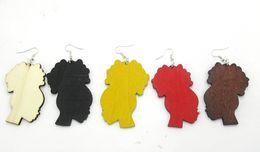 Оптовая-Бесплатная Доставка! 30pairs / lot 2016 горячие продажа афро деревянные серьги можно смешивать 5 цветов