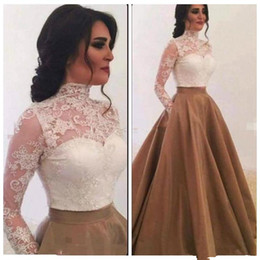 white princess style prom dresses NZ - 2019 arabic lace high neck evening dresses with pocket long sleeves fashion princess turkey style zipper plus size formal prom party gown