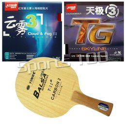 Discount galaxy t blade - Wholesale- Pro Combo Racket Galaxy Yinhe T-11+ Blade with DHS Skyline TG3 and Cloud & Fog III Rubbers Long Shakehand FL