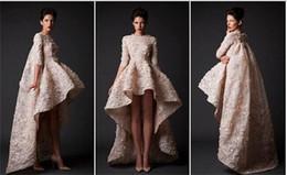 HigH low print prom dress online shopping - Zuhair Murad Dress High Low Half Sleeve Appliques Beads Tiered Celebrity Evening Gown Zipper Back Elegant Custom Made Prom Dresses