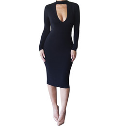 Barato Longo Mais Tamanho Preto Bodycon-Plus Size Mulheres Vestuário S-XXL New Arrivals Vestidos de festa sexy para as mulheres de manga comprida O-neck White Bodycon Vestido Prom Black Dress Clubwear