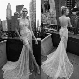 Barato Vestidos De Noiva De Baixa Renda-2016 Inbal Dror Vestidos de casamento de renda Sweetheart Neckline Applique Beaded High Low Back Vestidos de noiva Front Split Mermaid Wedding Gown