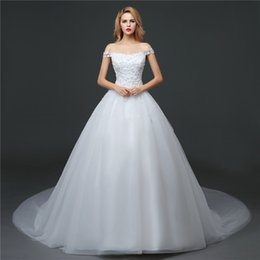 shanghai pearls Canada - Shanghai Story Off The Shoulder Train Wedding Gown With Flower Appliques For Bridal 2017