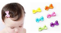 """Discount hair bow clips - 100pcs 2"""" Wave point dot Hair Bow clip Baby mini Hairbows Grosgrain Ribbon Boutique bowknot with Alligator clip hea"""