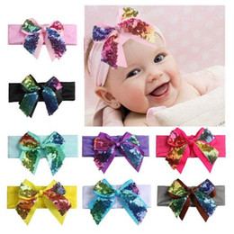 Barato Decoração, Fitas, Curvas-New baby girls Grande Sequin Bow Patchwork Multilayer Ribbon Decorating Infant Boutique Elastic Headbands hair band kids Hairwear
