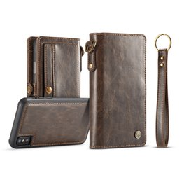 Iphone Removable Case NZ - Geniune Leather Removable Flip Leather Case Multifunction Wallet Card Slot Magnetic Cover For iPhone X 6 7 8 Plus