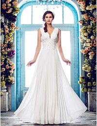 $enCountryForm.capitalKeyWord Australia - 2016 New Fashion Popular Free Shipping Ivory Floor-length V-neck Empire Appliques Chiffon Outdoor Sheath Wedding Dresses 203
