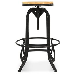 Chinese  Vintage Bar Stool Industrial Metal Design Wood Top Adjustable Height Swivel manufacturers
