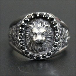 stainless steel lion rings Canada - 3pc lot Size 8-13 New Arrival Crystal Lion King Ring 316L Stainless Steel Top Quality Men Boy Fashion Jewelry Popular Lion Ring