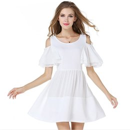 Vêtements Mignons À La Mode Pas Cher-2015 Vestido Blanco Bare Shoulder Flare Sleeve White Chiffon Princess Dress Mini Robes mignonnes Vêtements à la mode à la mode