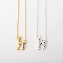 deer antlers charms Australia - 30PCS- N059 Gold Silver Simple Antler Deer Necklace Reindeer Horn Stag Necklaces Cute Bambi Necklace Woodland Fawn Necklaces