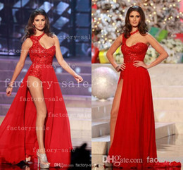 Bonjour Un Prom De L'épaule Pas Cher-Miss Universe Mlle Mexique Karina Gonzalez Robes de répétition Sexy One Shoulder Sequins Robe de soiree rouge en mousseline de soie Hi-Lo Long Prom Robes de soirée BO3261