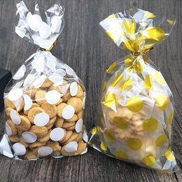 Dots Gift Paper Canada - 100pcs lot 13 X 21 cm white Golden dots bag cookies diy Gift Bags for Christmas Party Candy Food&Handmade soap Packaging bags