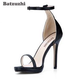 Новый стиль открытый Toe женщины Гладиатор римские сандалии черный туфли на высоком каблуке женщина для свадьбы и вечеринки, большой размер 43 на Распродаже