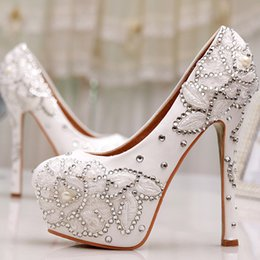 $enCountryForm.capitalKeyWord Canada - White Lace Flower Wedding Shoes Women Spring Summer Rhinestone Pumps Bridal Party Prom Shoes Mother of the Bride Shoes